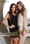 KL3202 BLACK-GOLD sizes 2 to 14, IVORY-GOLD sizes 2 to 10
